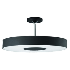 Modern Semi-Flushmount Light with Black Shade in Matte Chrome/black Finish
