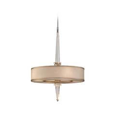 Modern Drum Pendant Light with White Shades in Tranquility Silver L Finish