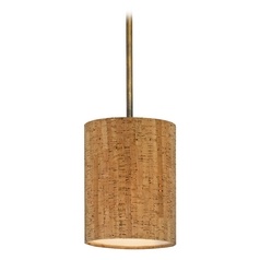Design Classics Lighting Cork Drum Shade Mini-Pendant Light in Bronze Finish DCL 6542-604 SH9473