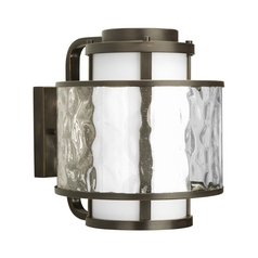 Progress Modern Outdoor Wall Light with Clear Glass in Bronze Finish