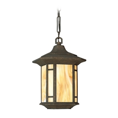 Progress Outdoor Hanging Light with Art Glass in Bronze Finish