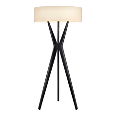 Large Tripod Modern Floor Lamp in Black Finish with Drum Shade