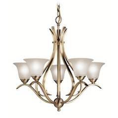 Kichler Chandelier with White Glass in Antique Brass Finish