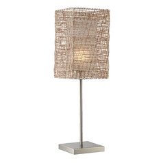 Lite Source Polished Steel Table Lamp with Rectangle Shade
