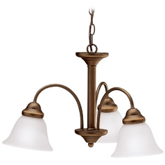 Kichler Chandelier with White Glass in Olde Bronze Finish