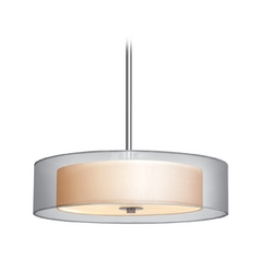 Sonneman Lighting Modern Drum Pendant Light with Silver Shades in Satin Nickel Finish 6022.13
