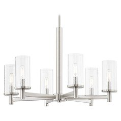 6-Light Modern Chandelier Seeded Glass Satin Nickel