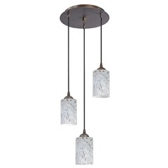 Design Classics Lighting Modern Multi-Light Pendant Light with Grey Art Glass and 3-Lights 583-220 GL1025C