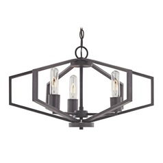 Hexagon 3-Light Chandelier- Bronze Finish
