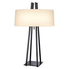 Mid-Century Modern Pull-Chain Table Lamp with Linen Drum Shade by Sonneman Lighting
