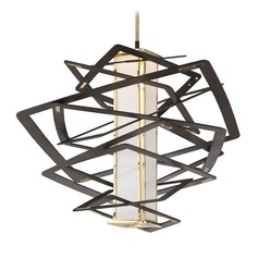 Modern Art Deco LED Pendant Light Bronze / Polished Brass Tantrum by Corbett Lighting