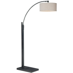 Modern Arc Lamp with White Shade in Black Finish