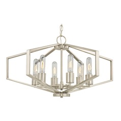 Hexagon 6-Light Chandelier - Satin Nickel Finish