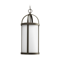 Progress Outdoor Hanging Light with White Glass in Bronze Finish