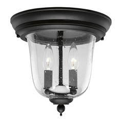 Seeded Glass Outdoor Ceiling Light Black Progress Lighting