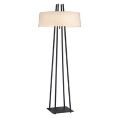 Modern Pull-Chain Floor Lamp with Linen Drum Shade
