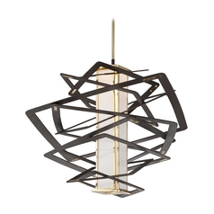 Modern Art Deco LED Pendant Light Bronze Tantrum by Corbett Lighting