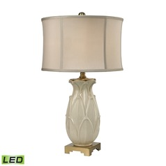 Dimond Lighting Ivory Glaze, Antique Brass LED Table Lamp with Drum Shade