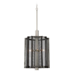 Designers Fountain Baxter Weathered Iron Pendant Light with Cylindrical Shade