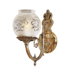 Sconce Wall Light with White Glass in Antique Classic Brass Finish