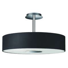 Modern Semi-Flushmount Light with Black Shade in Matte Chrome Finish