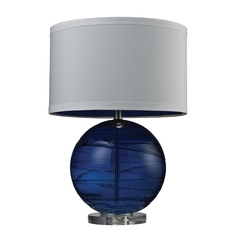 Table Lamp with Blue Glass and White Drum Shade