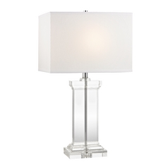 Crystal Pillar Table Lamp with White Rectangle Shade