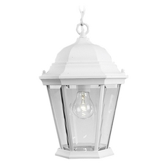 Progress Outdoor Hanging Light with Clear Glass in White Finish
