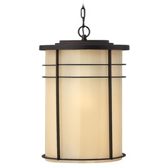Outdoor Hanging Light with Yellow Glass in Museum Bronze Finish