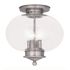 Livex Lighting Livex Lighting Harbor Brushed Nickel Close To Ceiling Light 5038-91