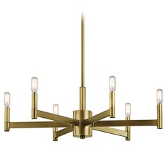 Mid-Century Modern 6-Light Chandelier Brass Erzo by Kichler Lighting