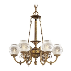 Chandelier with White Glass in Antique Classic Brass Finish