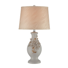 Table Lamp with Beige / Cream Shade in Ceramic White Glazed Finish