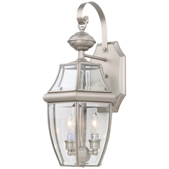 20/1/2-Inch Outdoor Wall Lantern with Satin Nickel Finish