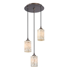 Multi-Light Pendant Light with Mosaic Glass and 3-Lights