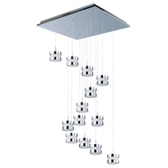 Disco Polished Chrome LED Multi-Light Pendant with Drum Shade