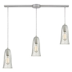 Elk Lighting Hammered Glass Satin Nickel Multi-Light Pendant with Bell Shade