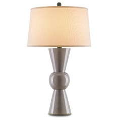 Currey and Company Lighting Upbeat Gray Table Lamp with Drum Shade