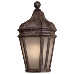Outdoor Wall Light with Beige / Cream Glass in Vintage Rust Finish