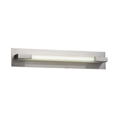 Modern Bathroom Light with Clear Glass in Satin Nickel Finish