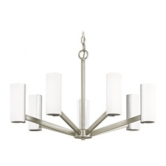 Modern LED Chandelier with 7 Lights Satin Nickel Finish