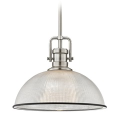 Farmhouse Pendant Light Prismatic Glass Nickel / Chrome 13.13-Inch Wide