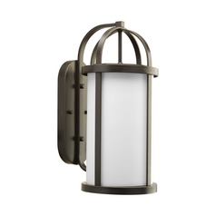 Progress Outdoor Wall Light with White Glass in Antique Bronze Finish