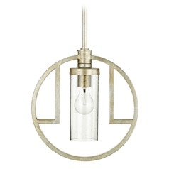Seeded Glass Pendant Light Silver Quorum Lighting