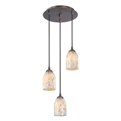 Design Classics Lighting Multi-Light Pendant Light with Mosaic Glass Glass and 3-Lights 583-220 GL1026D