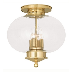 Seeded Glass Close To Ceiling Light Brass Livex Lighting