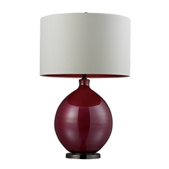 Table Lamp with Pink Glass Base and White Drum Shade