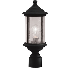 Seeded Glass Outdoor Post Light Black 16-1/2-Inch Dolan Designs