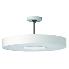 Modern Semi-Flushmount Light with White Glass in White Finish