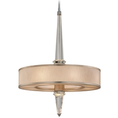 Modern Drum Pendant Light with White Shade in Tranquility Silver